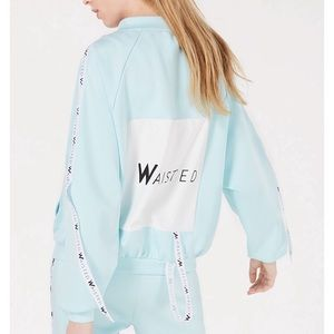 Waisted Pastel Blue Graphic zip-front Track Jacket